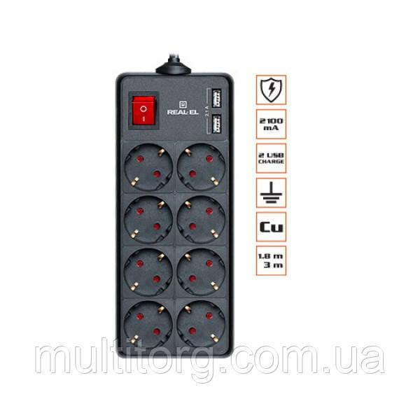 Фильтр-удлинитель REAL-EL RS-8 PROTECT USB 1.8m черный уценка