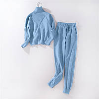 Стильний жіночий повсякденний костюм блакитний розмір S/M