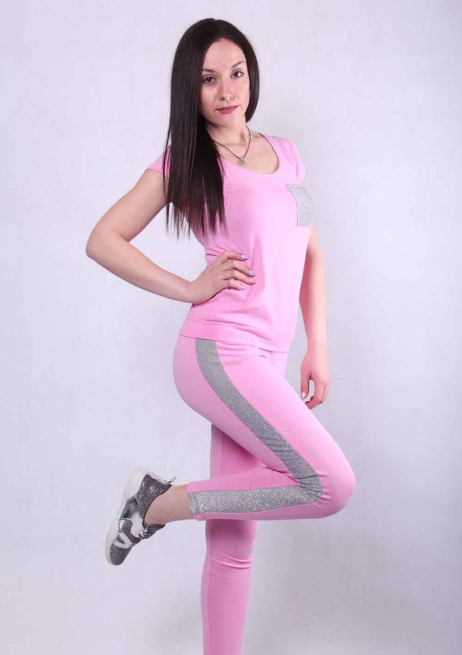Костюм женский 1478 (деми) 42 р (футболка+штаны с люрексом) ТОЖ-360089