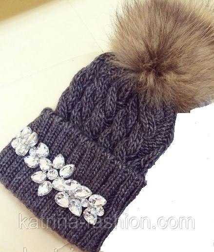 Женская теплая шапка с камнями (4 цвета)