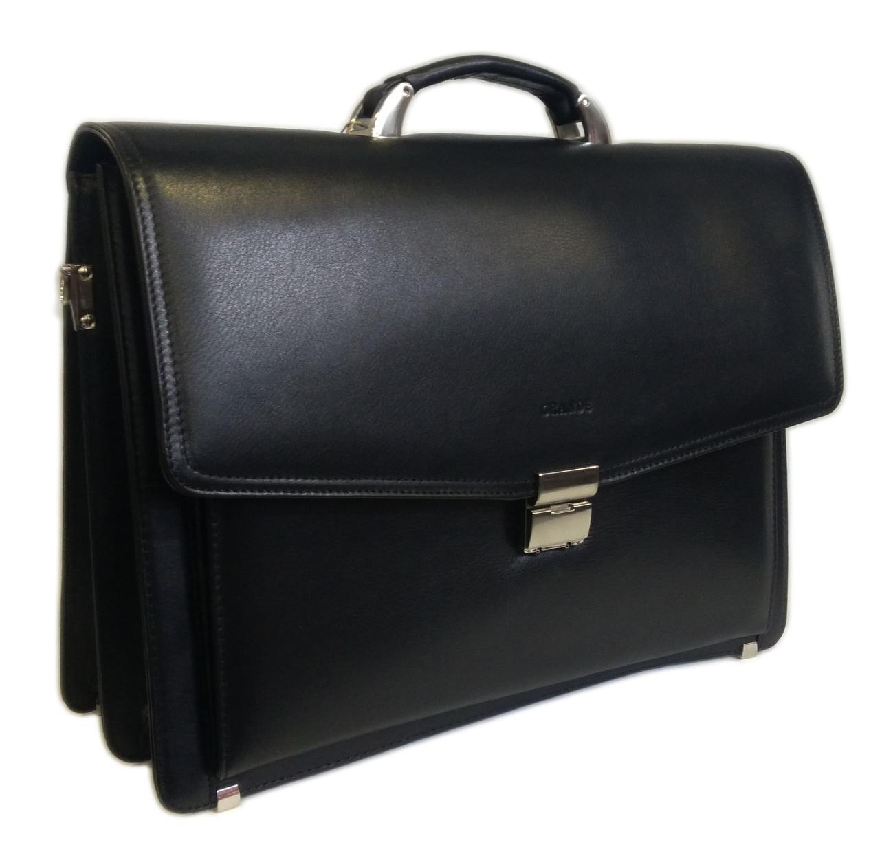 Портфель черный кожа натур. S-4447 Grande