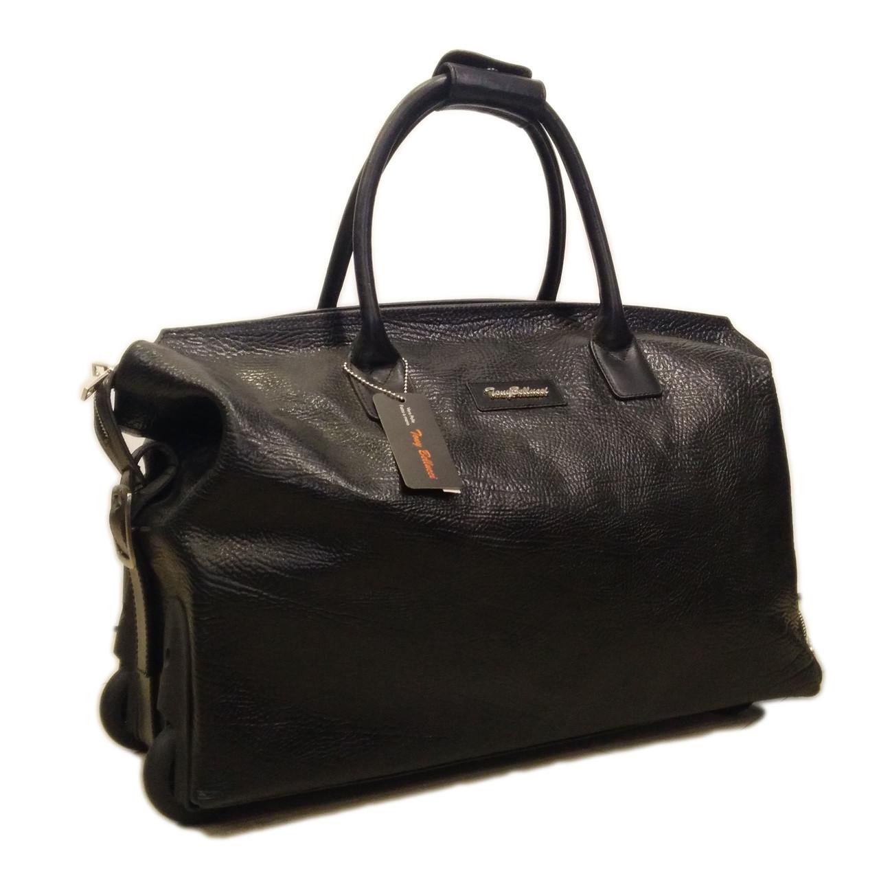 Кожаная сумка на колесах Tony Bellucci S-5073-893 кожа буфало, черная