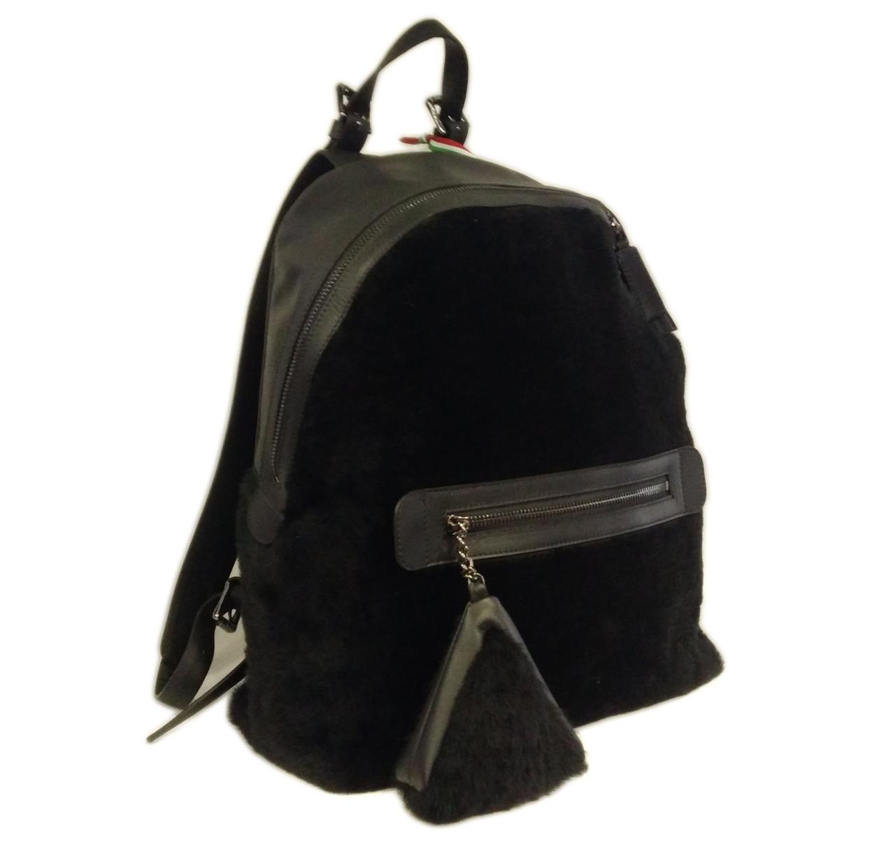 Рюкзак кожа натур.+мех, черный S-7047 DIZAR