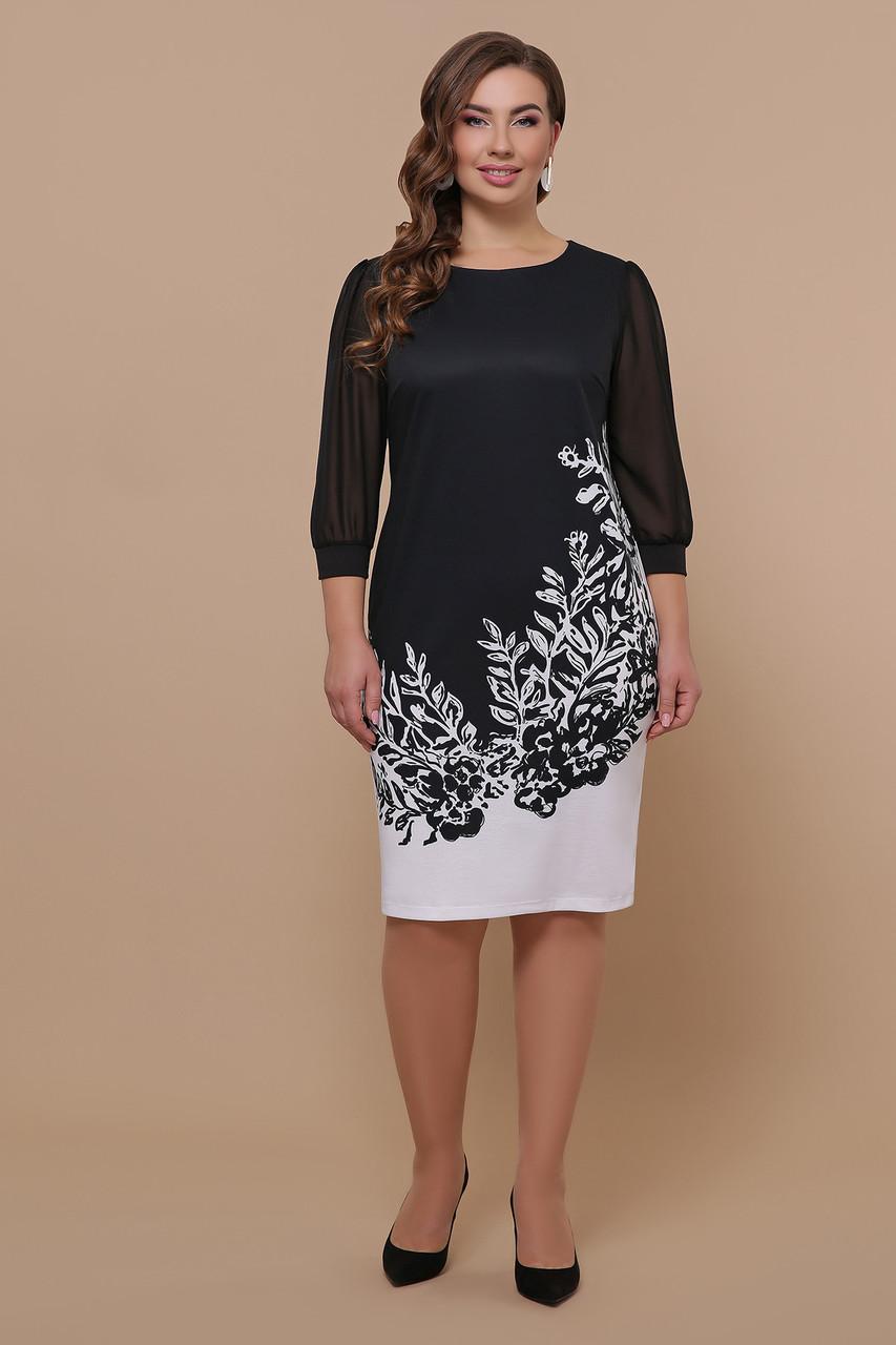 Цветы черно-белые платье Талса-1Б д/р