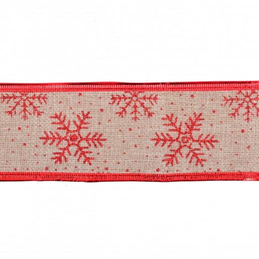 Лента Yes! Fun декоративная 6 см * 2 м с красной снежинкой