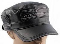 Модель №260 Кожаная кепка-немка Goldwing черного цвета