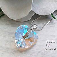 Серебряный кулон с кристаллом Сваровски в форме сердца
