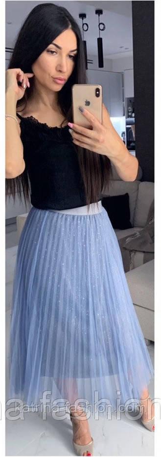 Женские фатиновая юбка-плиссе с пайетками (в расцветках)