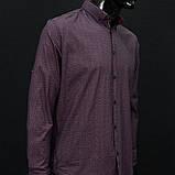 Сорочка чоловіча, приталена (Slim Fit), з довгим рукавом Bagarda BG6713-1 NAVY-CLARET RED 93% бавовна 7% еластан M(Р), фото 2