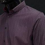 Сорочка чоловіча, приталена (Slim Fit), з довгим рукавом Bagarda BG6713-1 NAVY-CLARET RED 93% бавовна 7% еластан M(Р), фото 3