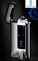 Электро-импульсная USB зажигалка LIGHTER с двумя перекрестными молниями сенсорная