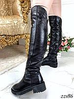 Зимние ботфорты на маленьком каблуке. Натуральная кожа, фото 1