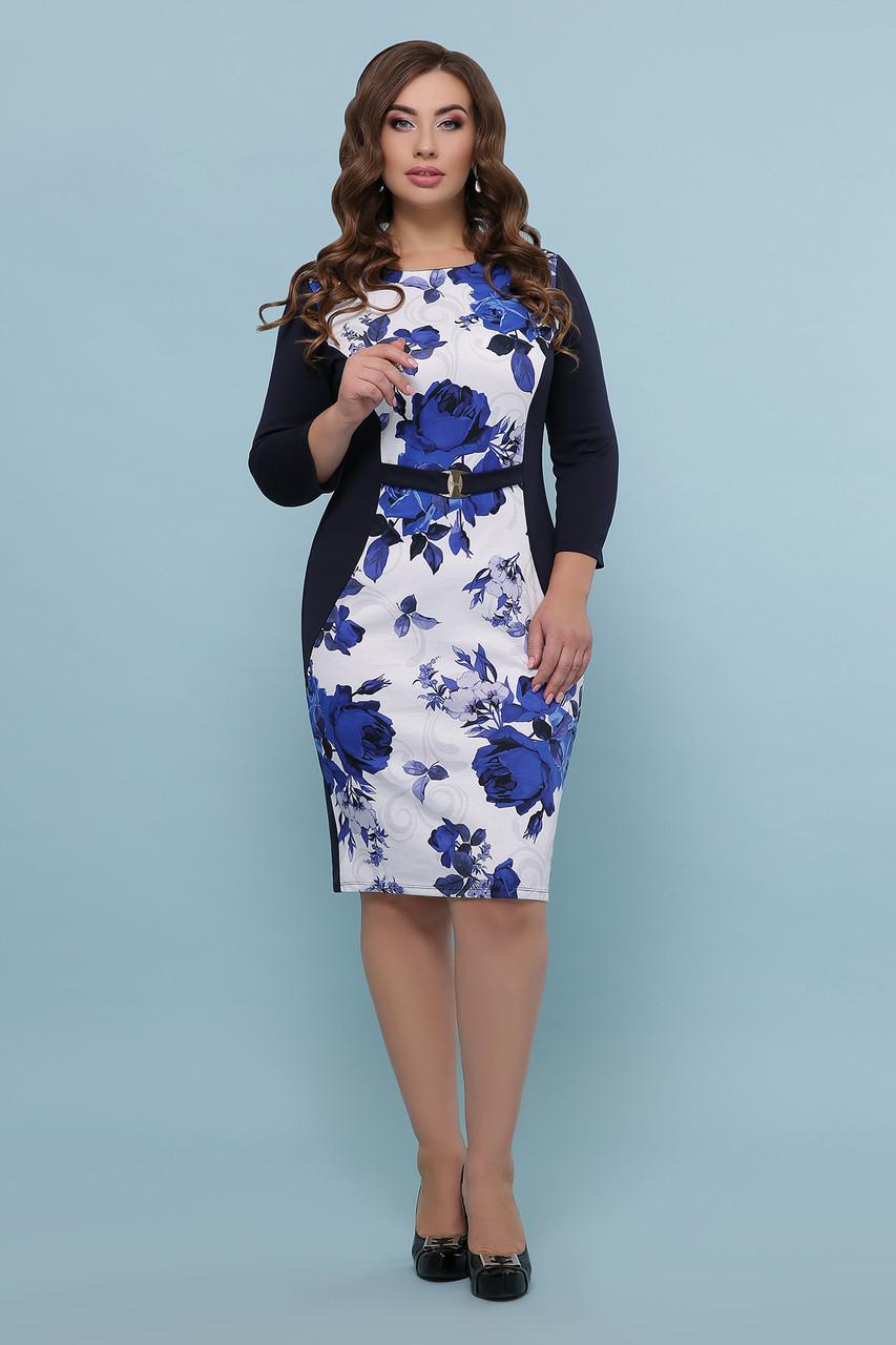 Розы синие платье Джемма-2Б д/р