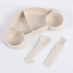 Детская бамбуковая посуда 2 в 1 Машинка (Бежевый)