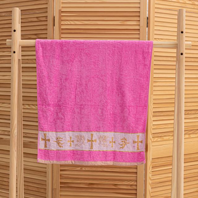 Крыжма полотенце с вышивкой розовое
