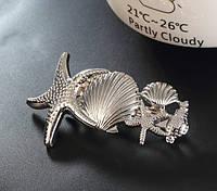 Заколка автоматик Морской стиль (цвет золото или серебро)