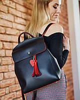 Стильный сумка-рюкзак черного цвета с красным сердцем