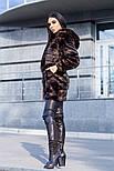 """Женская супер стильная стриженая красивая шуба """"Норка"""" из искусственного меха с капюшоном, фото 2"""