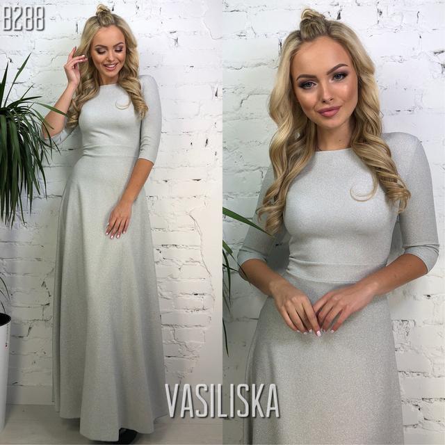 блестящее платье в пол с напылением