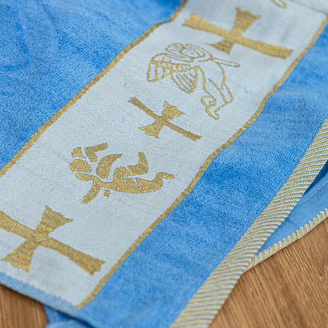 Крыжма полотенце с вышивкой голубое
