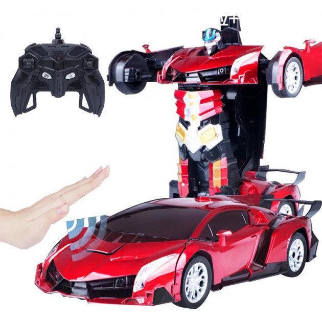 Машинка Трансформер Lamborghini Robot Car  Красная с пультом