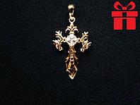 🔥✅Крест с драконами. Позолота 18 К Xuping, медицинское золото, ювелирный сплав, бижутерия, крестик