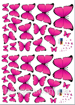 Вафельная картинка  розовые  бабочки