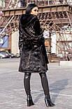 """Женская красивая длинная шуба """"Под Норку"""" из искусственного меха с капюшоном, фото 3"""