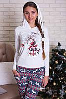 Новогодний пижамный комплект футболка и штаны, красивая теплая одежда для дома на Новый Год!!! Большой размер!