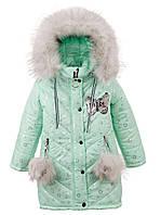 Зимняя куртка для девочки  с мехом на капюшоне. Размеры 104 - 146