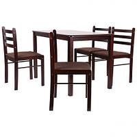 Комплект обеденный Брауни (стол+4 стула) темный шоколад/эспрессо, фото 1