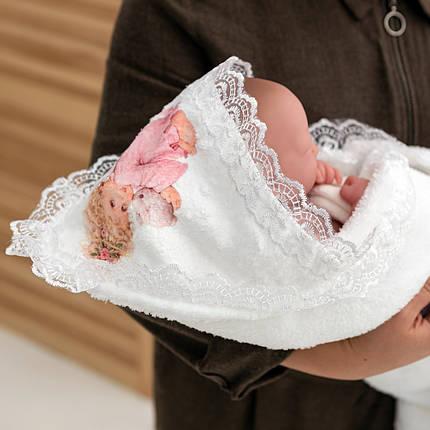 Крижма рушник з мереживом для дівчинки Янгол, фото 2