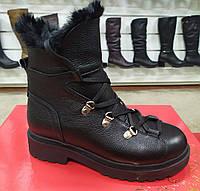 Стильные молодежные кожаные зимние ботинки