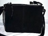 Женский черный клатч из натуральной замши 24*19 см