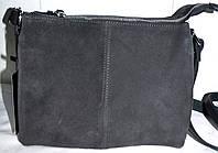 Женский серый клатч из натуральной замши 24*19 см