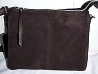 Женский каштановый клатч из натуральной замши 24*19 см