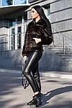 Женская модная стриженая красивая шуба из искусственного меха с капюшоном, фото 3