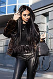 Женская модная стриженая красивая шуба из искусственного меха с капюшоном, фото 2