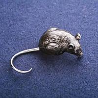 Брошь Мышь символ года 20х45мм серый металл