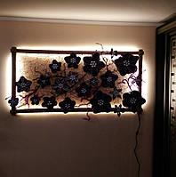 Декоративное панно картина светильник на стену Фиолетовый каприз