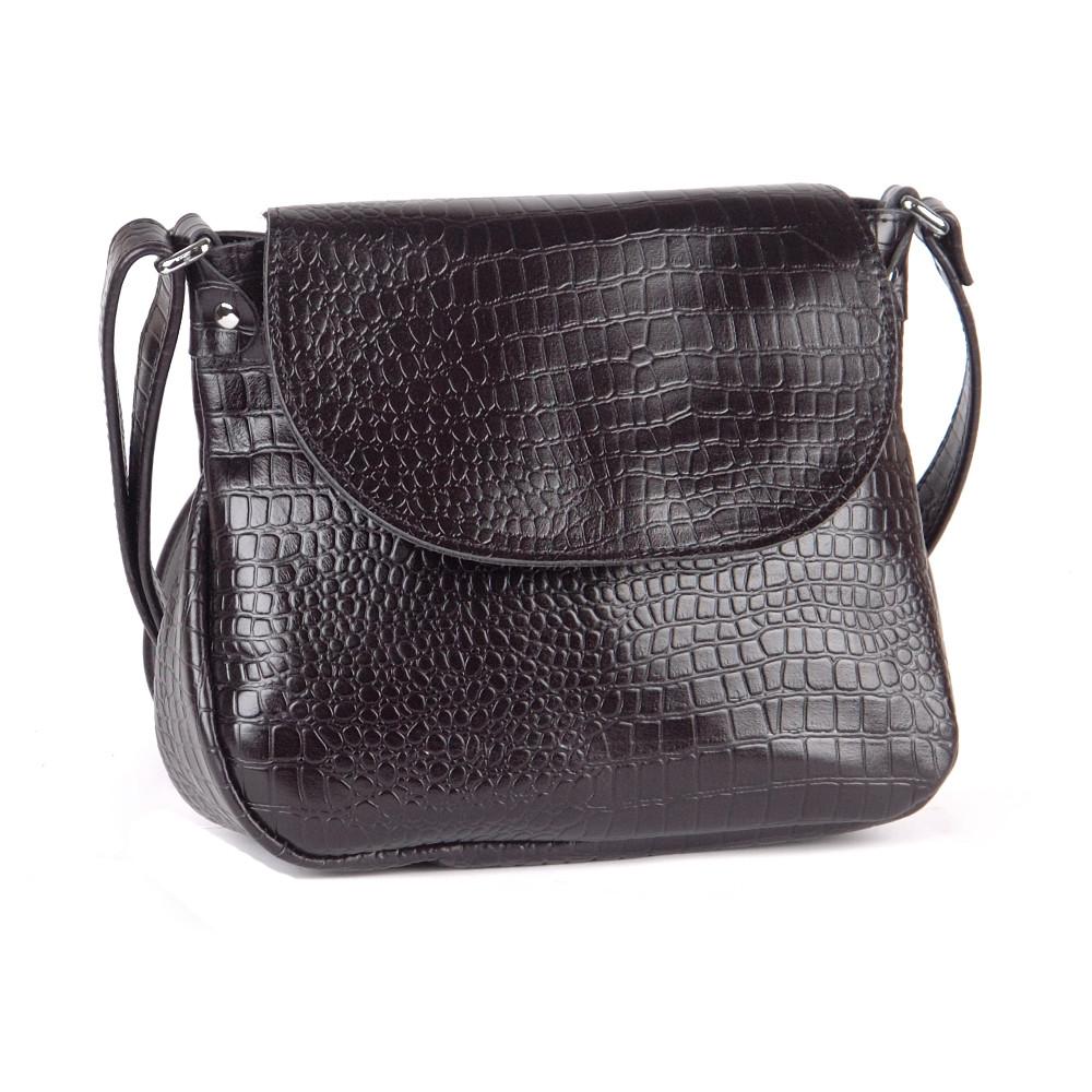 Женская сумка кожаная через плечо 05 черный кайман 01050201