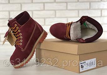 Женские ботинки зимние Timberland (иск.мех) (бордовый)
