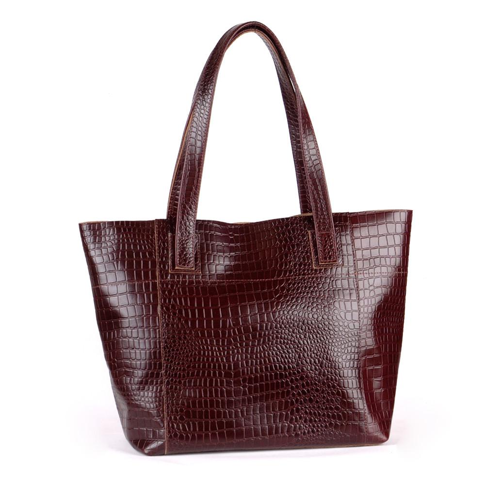 Женская кожаная сумка 03 коричневый кайман 01030206