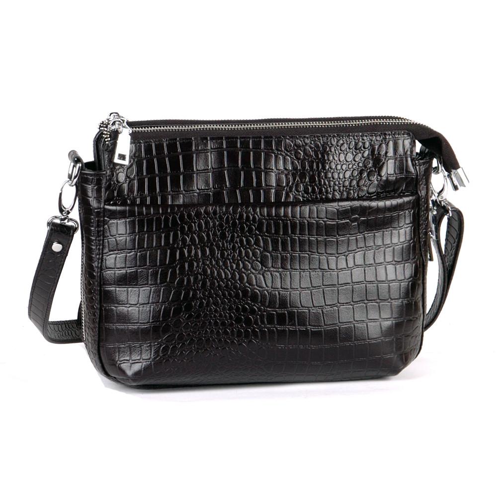 Женская кожаная сумка 21 черный кайман 01210201