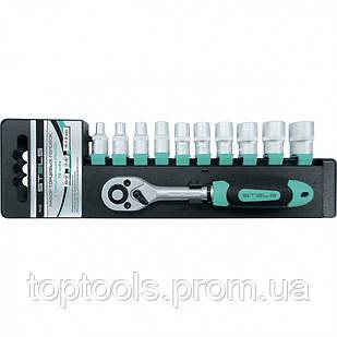 Набор торцевых головок, 3/8, головки 7-22 мм, с трещоточным ключом, CrV, 11 предметов Stels