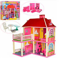 Кукольный домик 6980 2в1 (2 этажа, 5 комнат, мебель)
