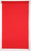 Готовые рулонные шторы 350*1500 Ткань Лён 610 Красный