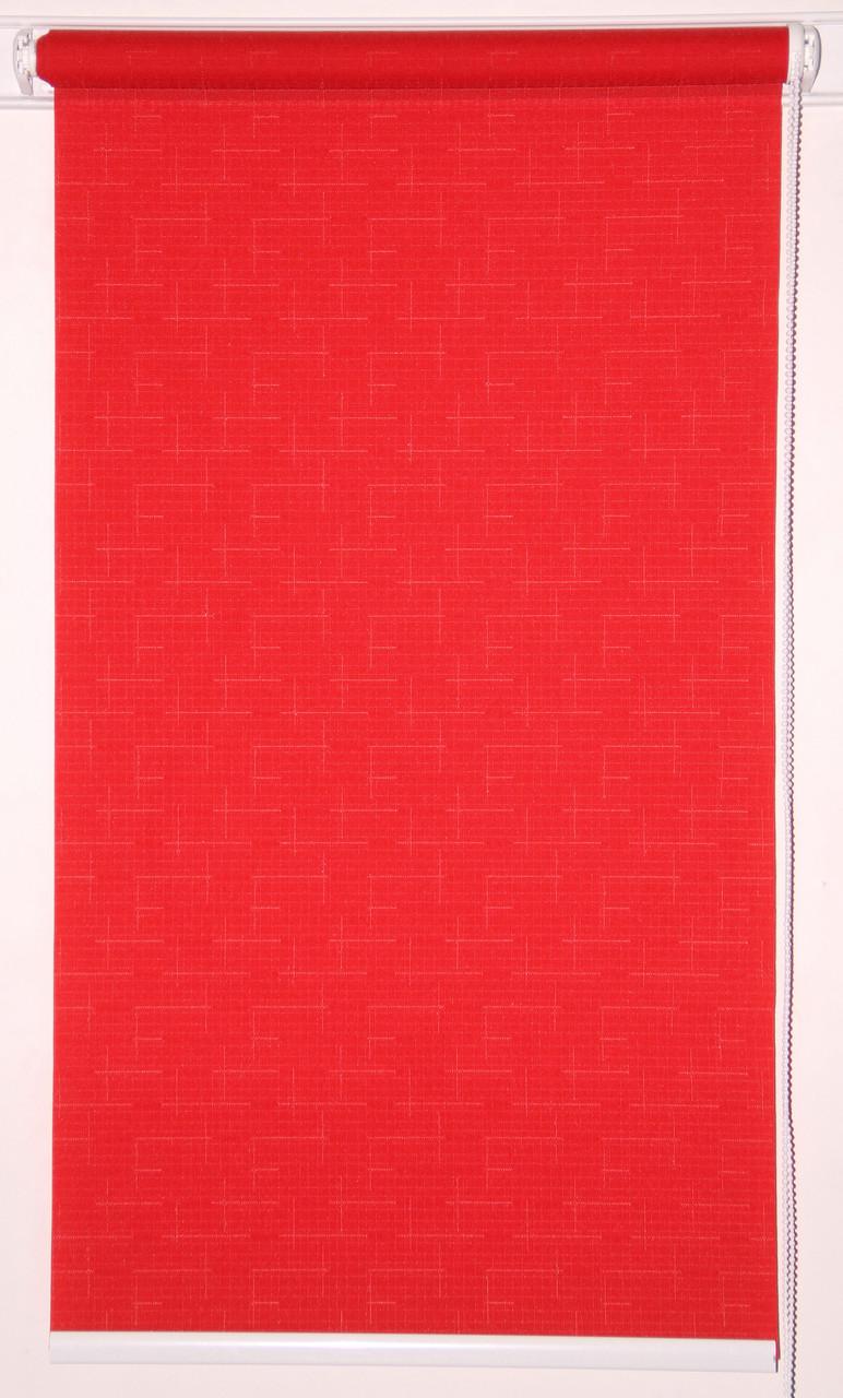Рулонная штора 650*1500 Ткань Лён 610 Красный
