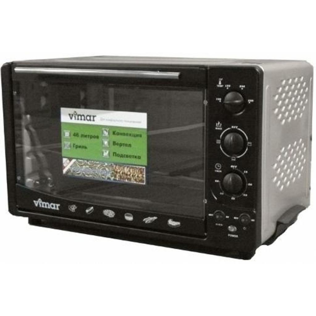 Електропіч VIMAR VEO-4655 B, Тип духовки: электрическая, Мощность: 2000 Вт, Управление: механическое, Объем: 46 л, Количество режимов нагрева: 7,