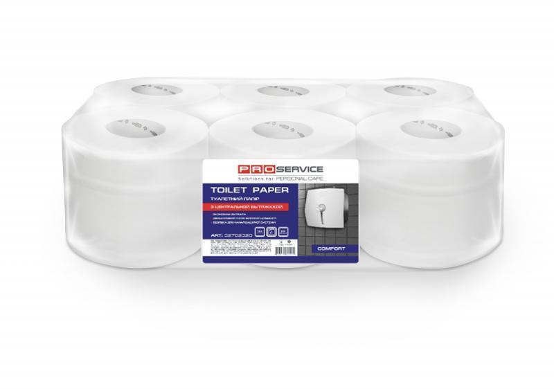 PRO service Папір туалетний  целюлозний двошаровий  з центальним витягом 120м 6шт (1шт/ящ)